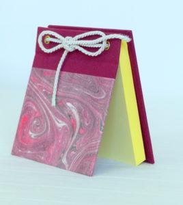 Block notes in tela e carta marmorizzata