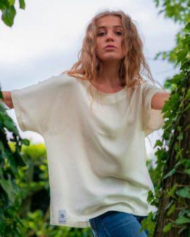 Blusa a maniche corte in Mussola 100% Bamboo - prodotto in Italia