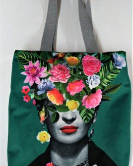 Borsa country frida flowers - velluto verde